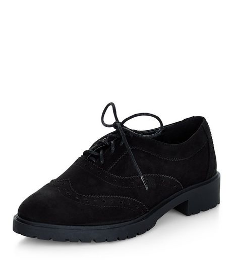 Teens Black Suedette Chunky Brogues  | New Look