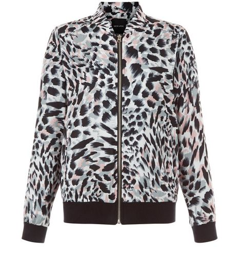 White Animal Print Bomber Jacket  | New Look