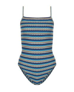 Blue Ribbed Stripe Bodysuit  | New Look