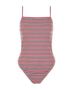 Red Ribbed Stripe Bodysuit  | New Look