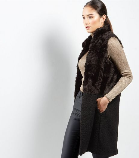 Black Faux Fur Longline High Neck Gilet | New Look