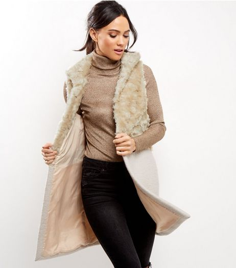 Cream Contrast Faux Fur Gilet | New Look
