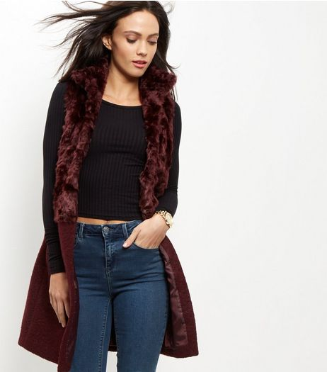 Burgundy Faux Fur Panel Sleeveless Coat  | New Look