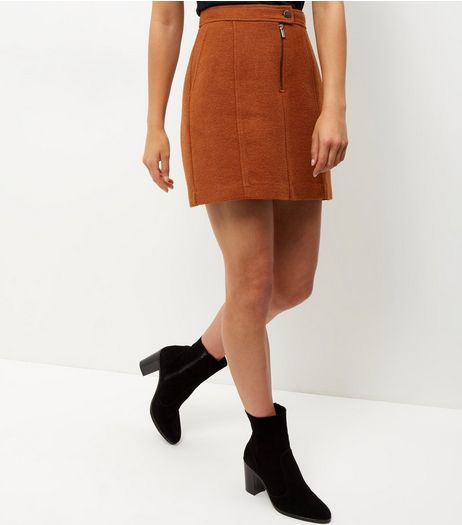 Rust Zip Front Mini Skirt | New Look
