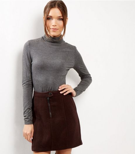 Burgundy Zip Front Skirt  | New Look