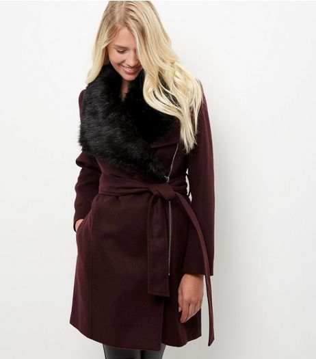 Burgundy Faux Fur Collar Longline Belted Coat | New Look
