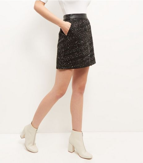 Black Flecked Boucle Textured Skirt | New Look