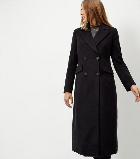 Navy Button Front Longline Coat  | New Look