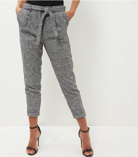 Black Flecked Suit Trousers  | New Look