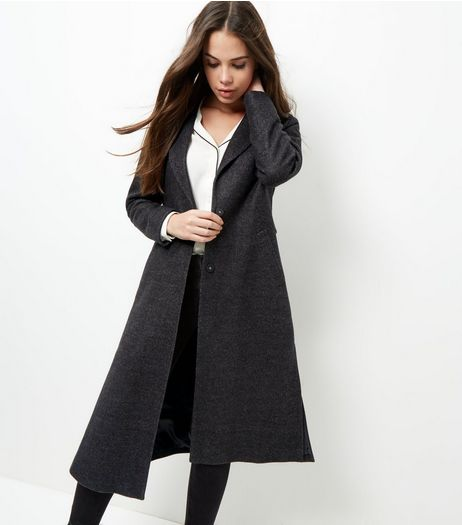 Black Bar Back Split Side Maxi Coat  | New Look