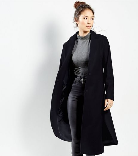 Navy Bar Back Split Side Maxi Coat | New Look