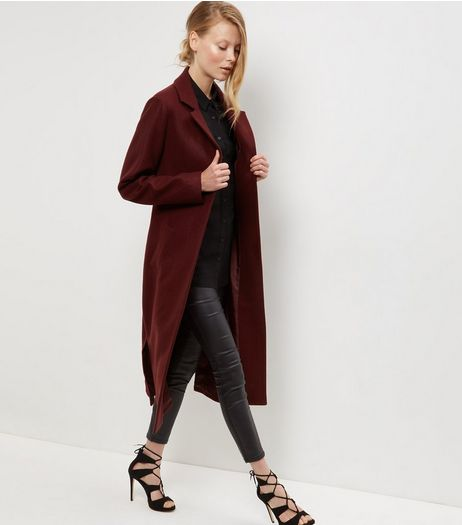 Burgundy Bar Back Split Side Maxi Coat  | New Look