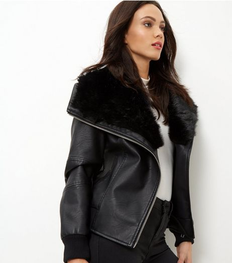 Black Faux Fur Leather-look Bomber Jacket | New Look