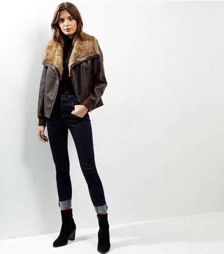 Dark Brown Faux Fur Collar Leather-Look Bomber Jacket  | New Look