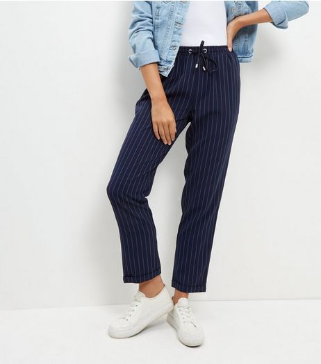 Navy Pinstripe Joggers  | New Look