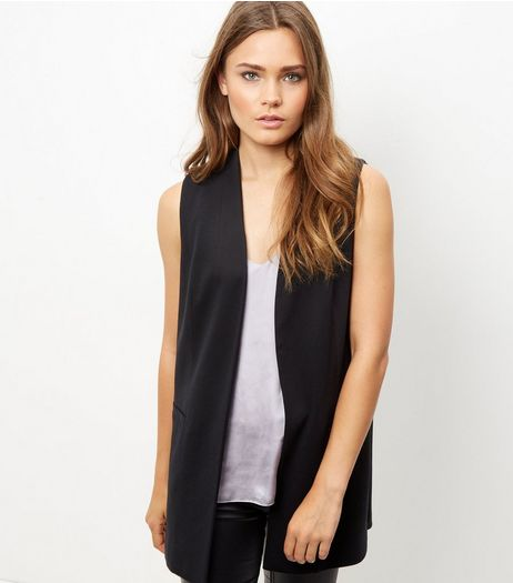 Black Sleeveless Blazer  | New Look