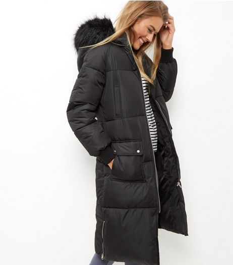 Black Faux Fur Trim Padded Longline Coat | New Look