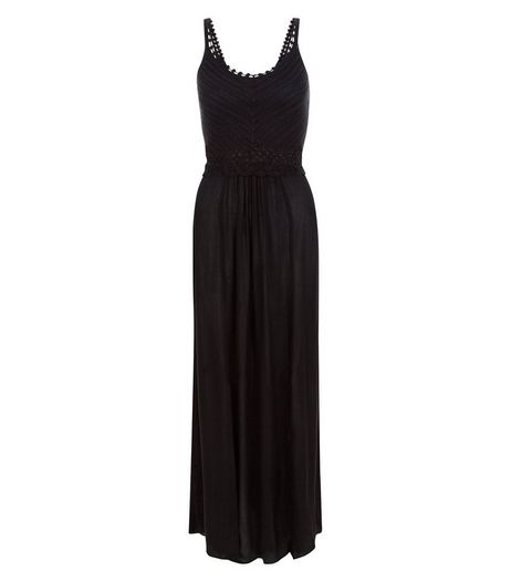 Black Crochet Panel Split Side Maxi Dress | New Look