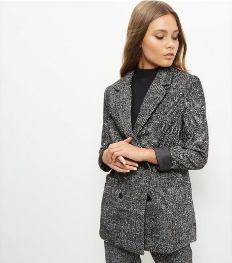 Black Flecked Longline Suit Jacket  | New Look