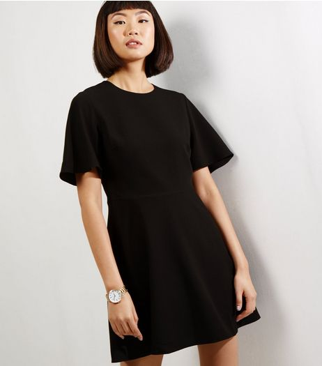 Black Flutter Sleeve Skater Dress | New Look
