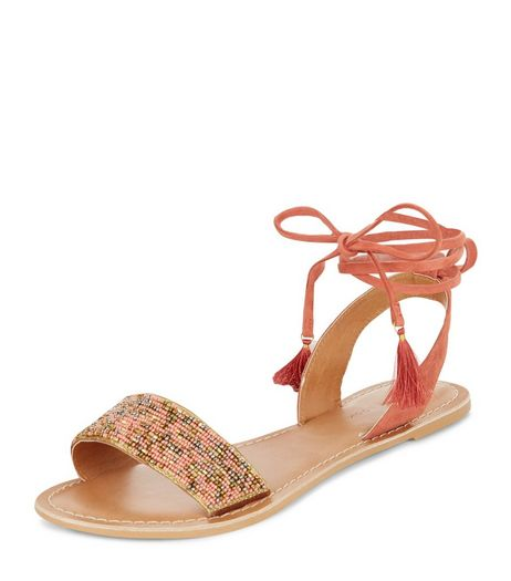 Coral Leather Beaded Lace Up Sandals | New Look