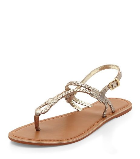 Gold Leather Plait Strap Sandals | New Look