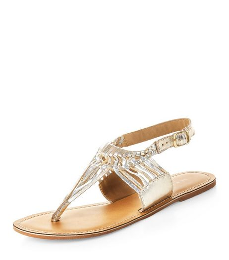 Gold Leather Twisted Strap Sandals  | New Look