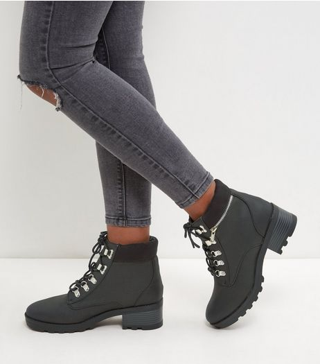 Black Lace Up Chunky Ankle Boots | New Look