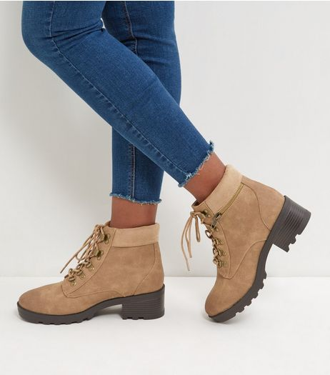 Light Brown Lace Up Chunky Ankle Boots | New Look