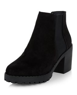 Black Suedette Chunky Chelsea Boots  | New Look
