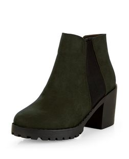 Green Suedette Chunky Chelsea Boots  | New Look
