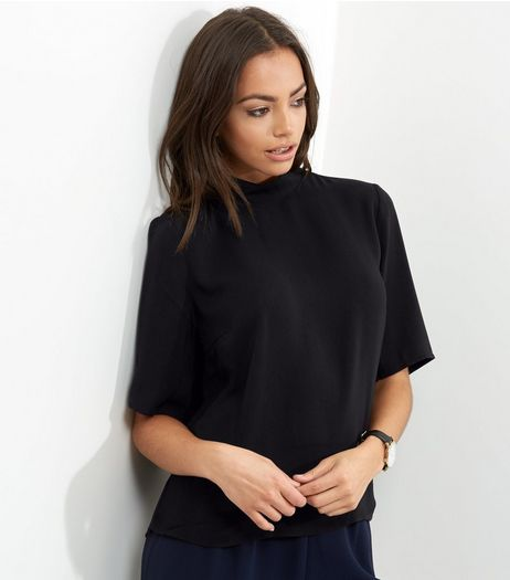 JDY Black Woven 1/2 Sleeve Top  | New Look