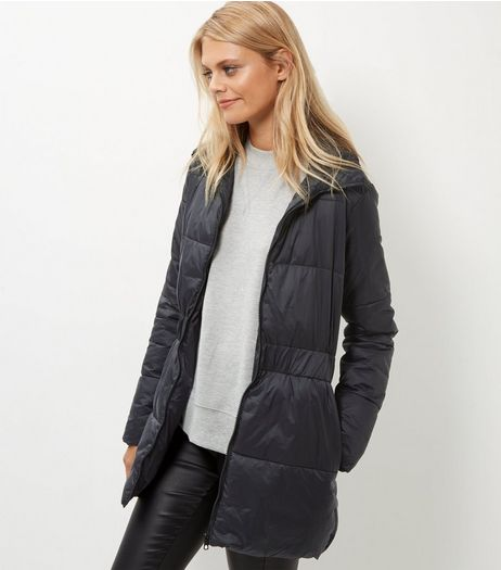 JDY Black Quilted Longline Jacket  | New Look