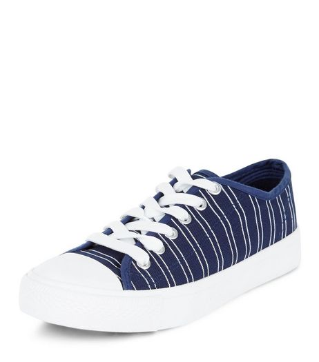 Teens Navy Stripe Lace Up Plimsolls | New Look