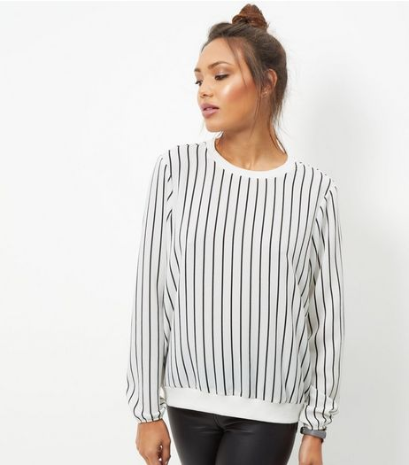 JDY White Stripe Long Sleeve Top  | New Look