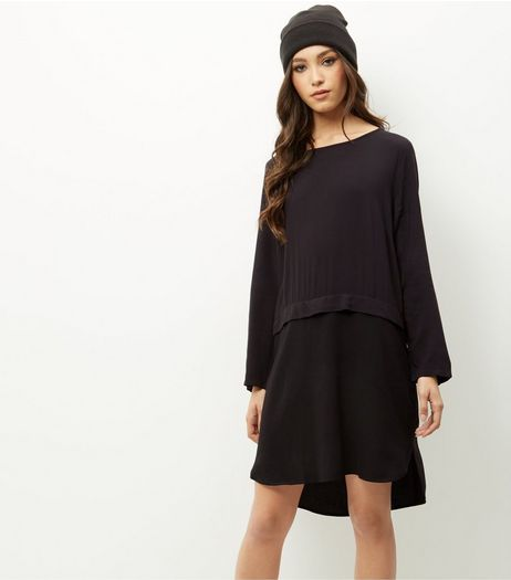 JDY Black Layered Long Sleeve Dress | New Look