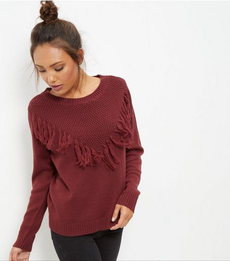 JDY Burgundy Frill Trim Knitted Jumper  | New Look