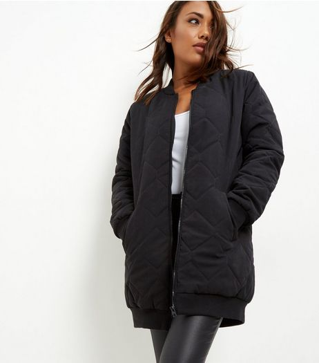 JDY Black Quilted Longline Bomber Coat | New Look