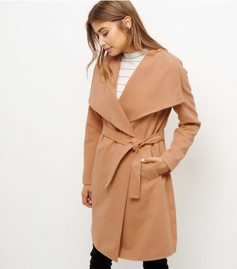 JDY Camel Longline Trench Coat  | New Look