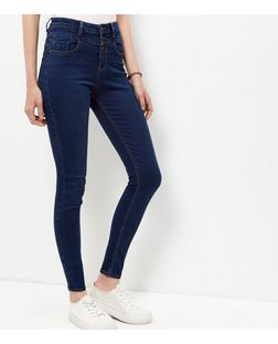 Dark Blue High Waist Skinny Jeans  | New Look