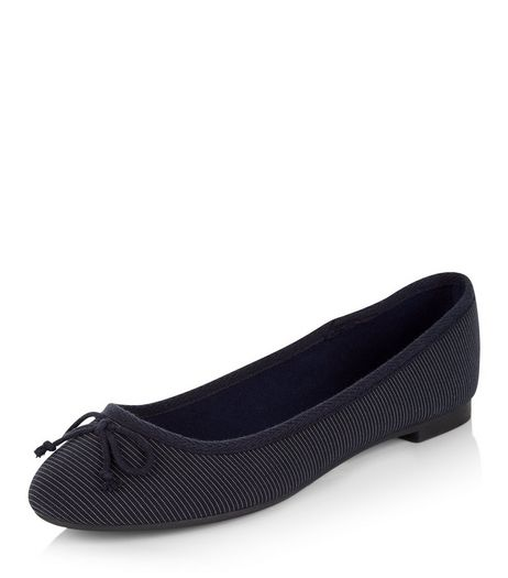 Navy Stripe Ballet Pumps | New Look
