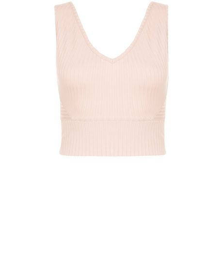Mid Pink Ribbed V Neck Crop Top  | New Look