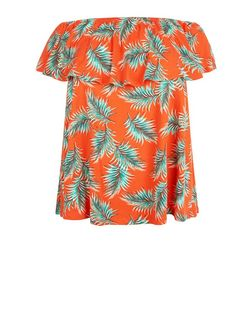 Curves Red Palm Leaf Print Bardot Neck Top | New Look