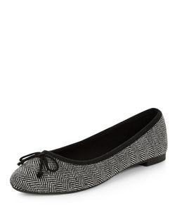 Black Herringbone Ballet Pumps | New Look