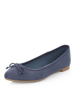 Pale Blue Suedette Ballet Pumps | New Look
