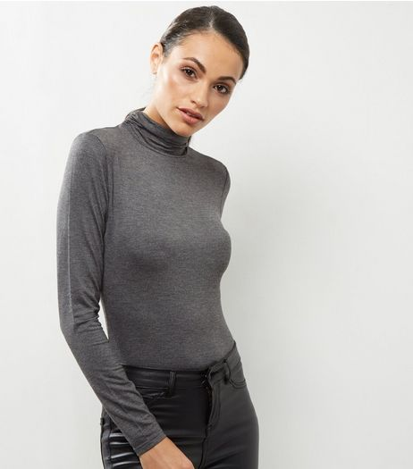 Dark Grey Turtle Neck Long Sleeve Top | New Look