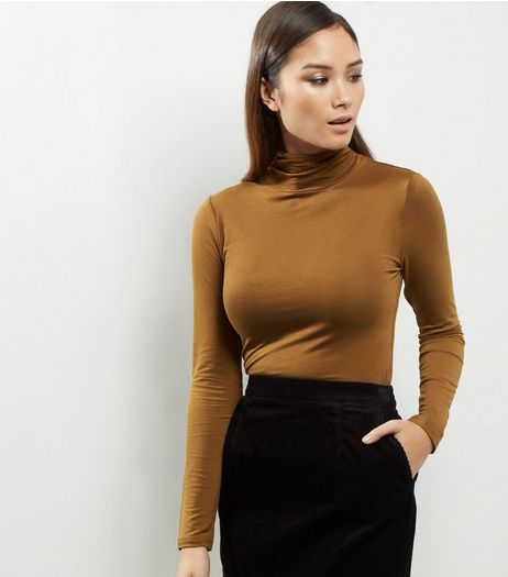 Olive Green Turtle Neck Long Sleeve Top | New Look