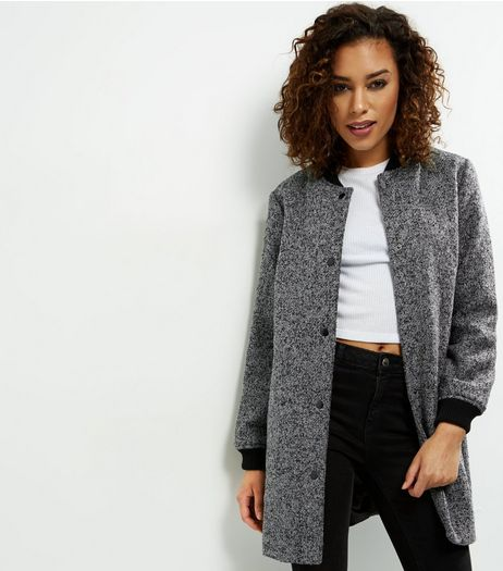Black Speckled Longline Bomber Jacket  | New Look