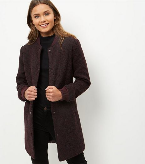 Burgundy Flecked Longline Bomber Jacket | New Look