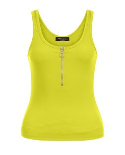 Petite Light Green Zip Front Ribbed Top | New Look